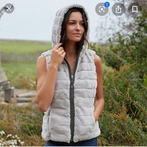 Cute and cozy reversible faux fur hooded vest